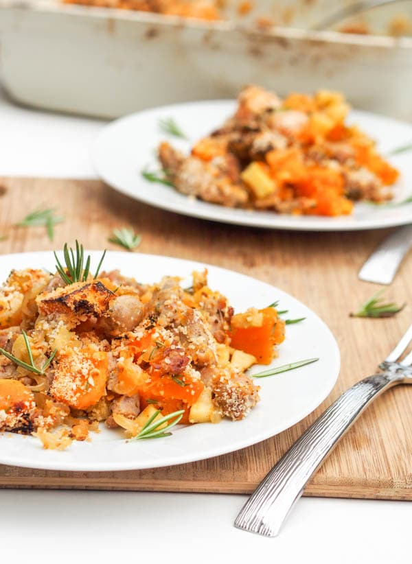 Butternut Squash Chicken Sausage Bake with Apples and rosemary