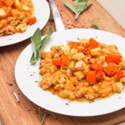 Ground Chicken Pumpkin Chili with Roasted Veggies Gluten Free Recipe