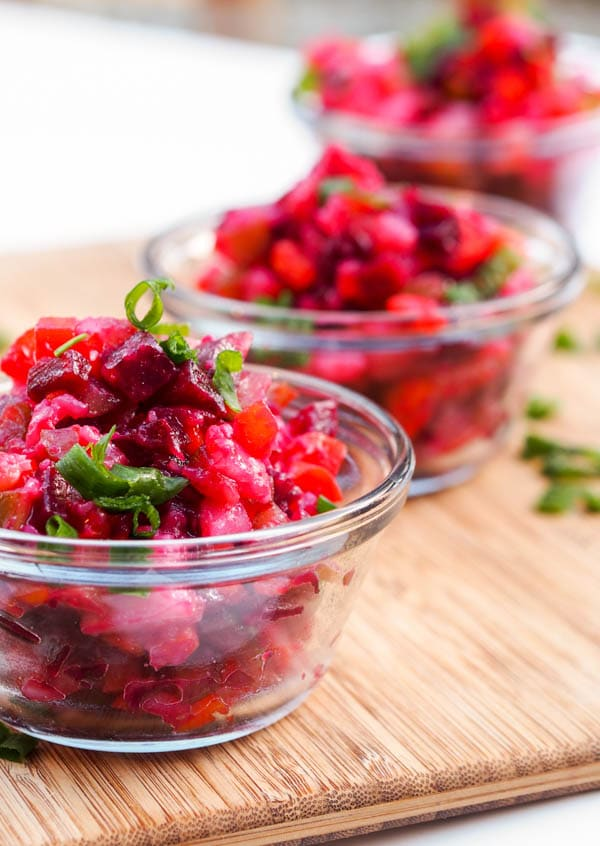 Russian Vinaigrette Salad with diced boiled beets, potatoes, carrots and pickles