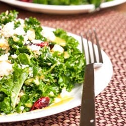 Massaged Kale Salad with Cranberries, Quinoa and Feta