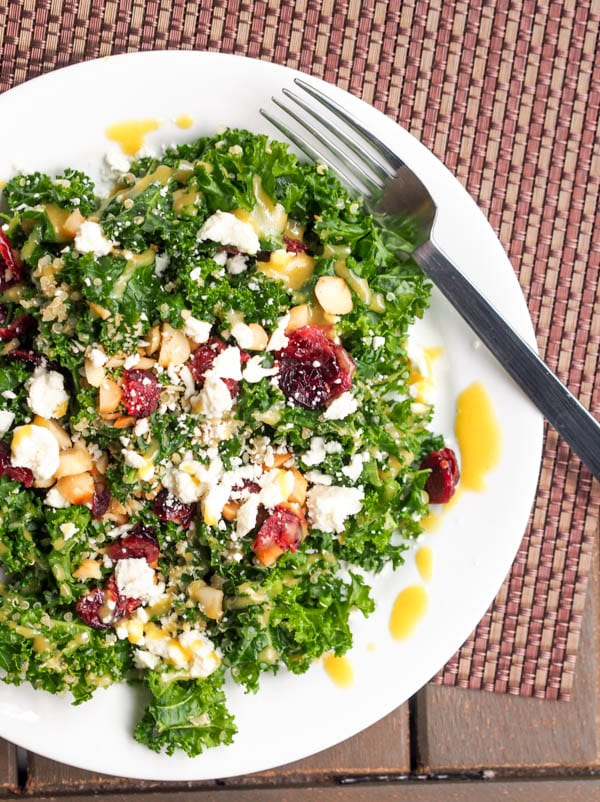 Massaged Kale and Quinoa Salad with Cranberries and Feta