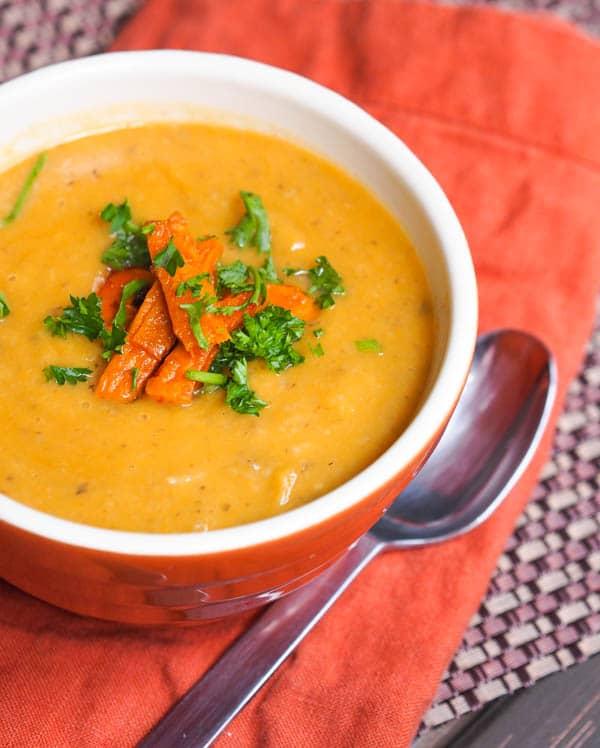 vegan sweet potato parsnip soup with shiitake mushrooms