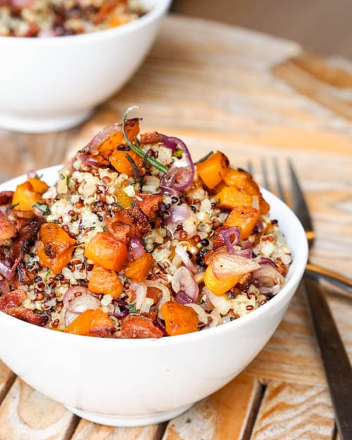 bacon quinoa dish with soft and caramelized sweet potatoes and onions ...