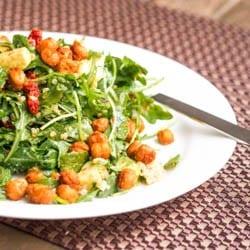 Vegan Arugula Quinoa Avocado Salad with Chickpea Croutons Gluten Free