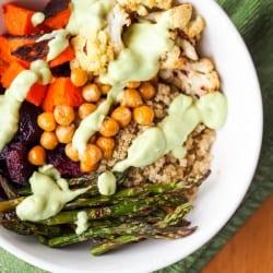 Quinoa Power Bowls with Avocado Sauce {Gluten-Free, Vegan}