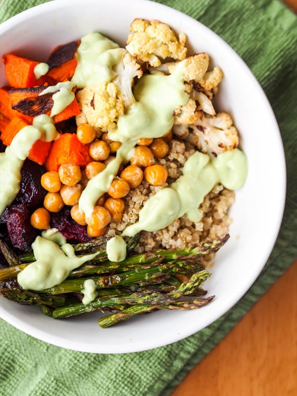 Vegan Quinoa Power Bowls with Roasted Veggies and Avocado Sauce Gluten-Free