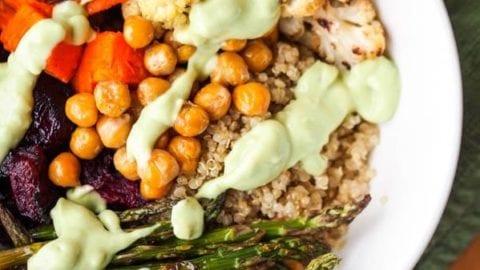 Vegan Quinoa Bowl with Avocado Sauce {GF}