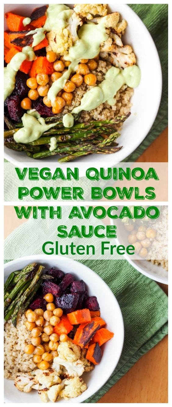 Vegan Quinoa Power Bowls with Roasted Veggies and Avocado Sauce are made with oven roasted beets, sweet potatoes, cauliflower, asparagus and pan toasted chickpeas, served over a fluffy bed of quinoa and drizzled with a creamy and flavorful avocado dressing. The ultimate feel good meal. Gluten Free too. #vegan #quinoa #powerbowl #healthy #glutenfree #dinner