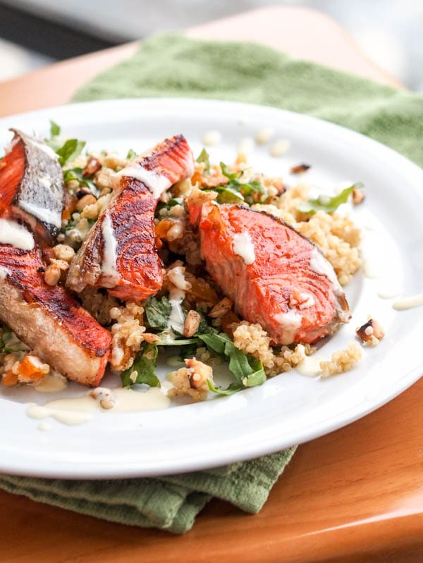 Salmon Quinoa Salad with Arugula, Almonds and Apricots