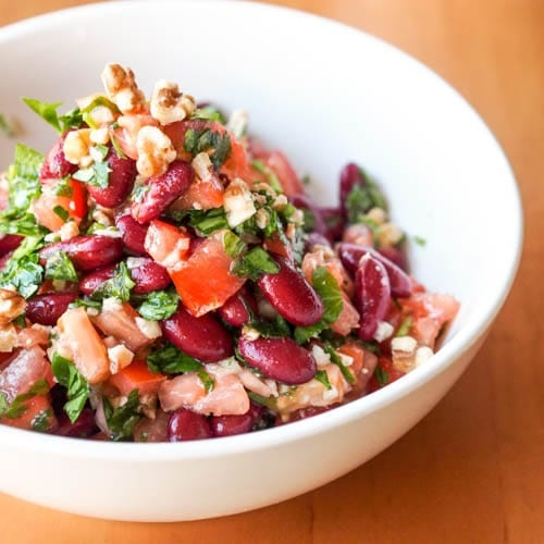 Tomato, Walnut Kidney Bean Salad with Parsley