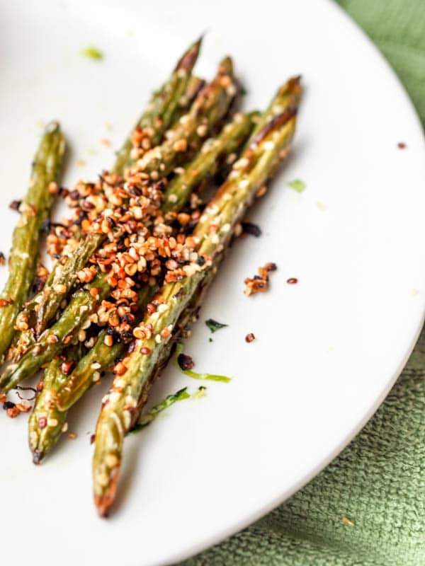 Baked green bean fries coated in hemp seeds