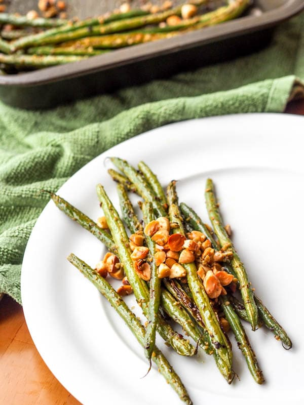 Baked Green Beans with Pesto and Almonds {Vegan, Gluten-Free}