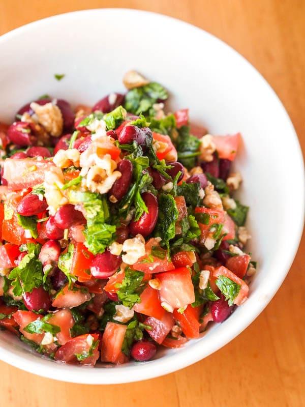 Vegan Kidney Bean Salad with Tomato, Parsley and Walnuts {Gluten-Free}