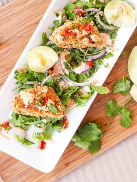 Asian Salmon Cakes over a bed of arugula