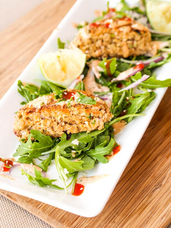 Asian Salmon Cakes served on arugula with lime juice