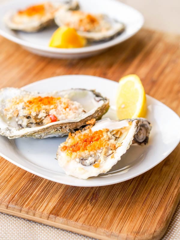 Baked oysters with panko aioli