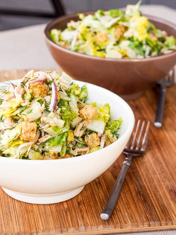 Chicken Romaine Salad with Croutons