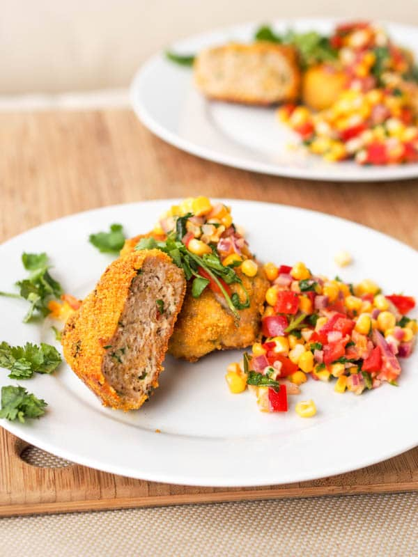 Healthy turkey patties with corn salsa