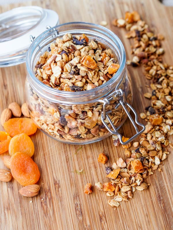 apricot granola with almonds in a jar