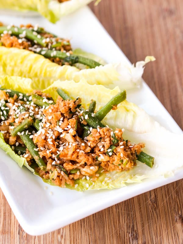 Asian Vegan Lettuce Wraps garnished with sesame seeds