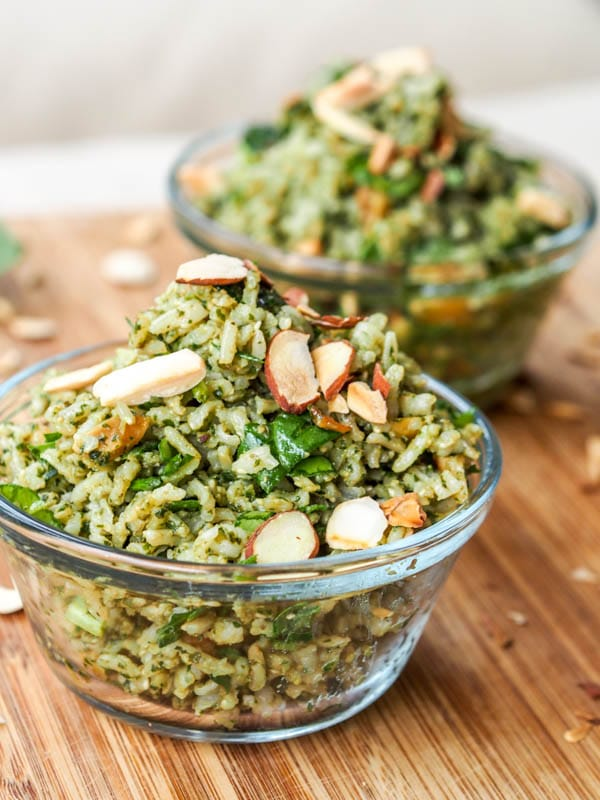 Pesto Brown Rice Pilaf