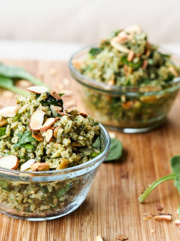 Pesto Brown Rice Pilaf with Sliced almonds