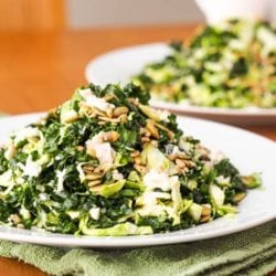 Brussel Sprouts Kale Salad with Sunflower Seeds {Gluten-Free, Vegan}
