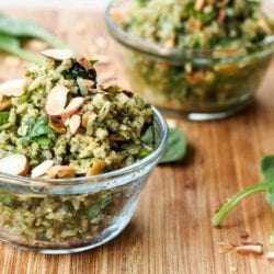 Pesto Brown Rice Pilaf Recipe {Vegan, Gluten-Free}