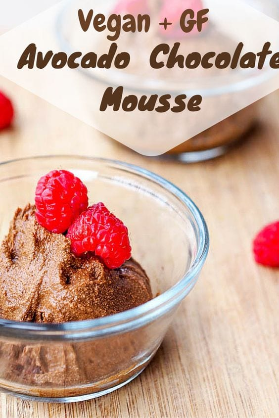 A vegan and gluten-free chocolate mousse with a surprising ingredient – avocado! A guilt free dessert with creamy avocado, dark chocolate coconut cream and maple syrup. Refined sugar free. #avocado #dessert #vegan #glutenfree
