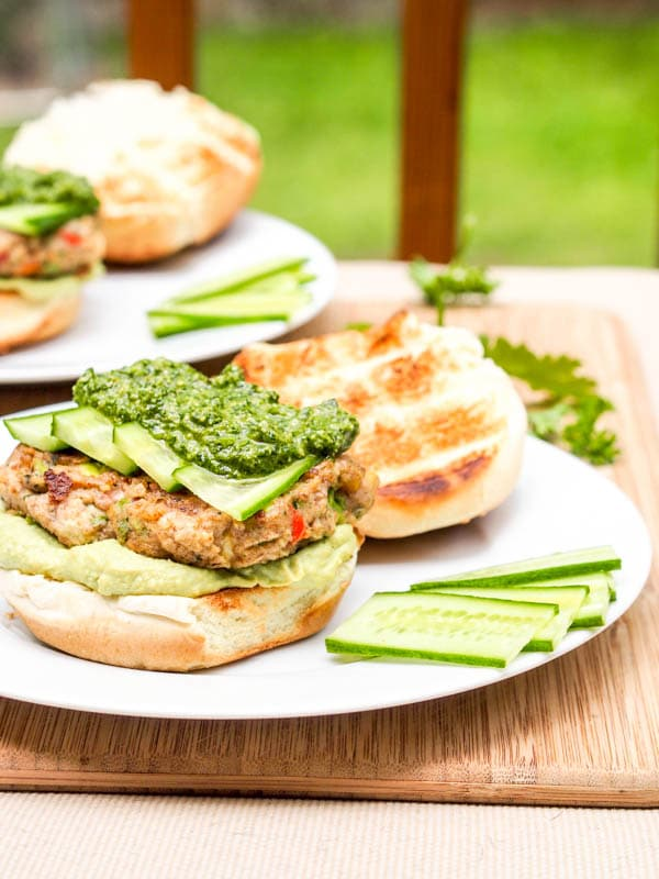 open faced Bubba Veggie Burger with Cilantro Parsley Pesto and Avocado Hummus
