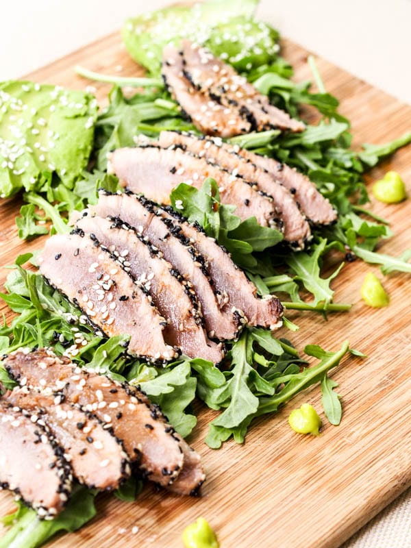 Sesame Crusted Ahi Tuna served with a dollop of wasabi