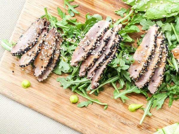 Sesame crusted Ahi Tuna thinly sliced
