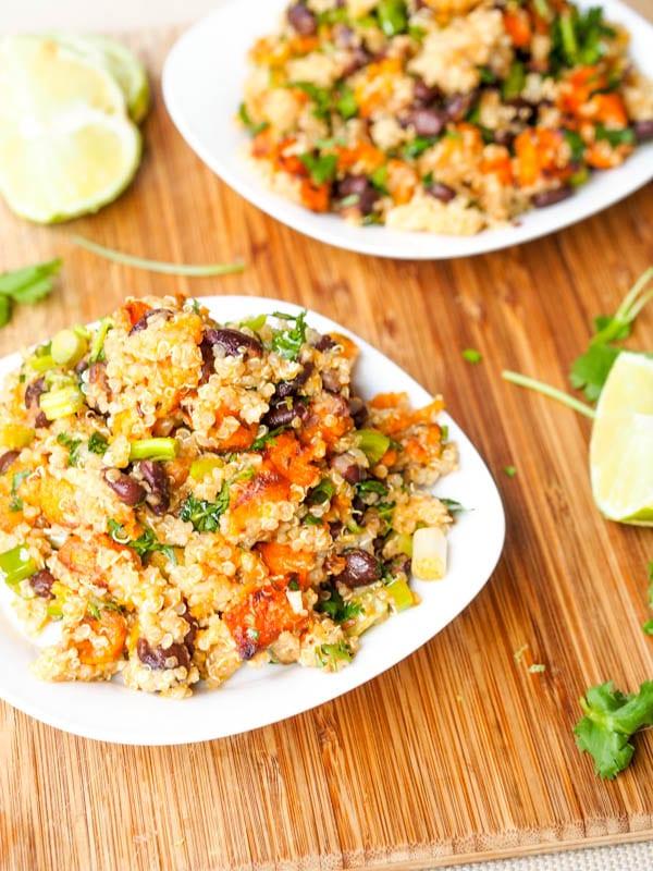 Vegan sweet potato recipes with black bean quinoa salad