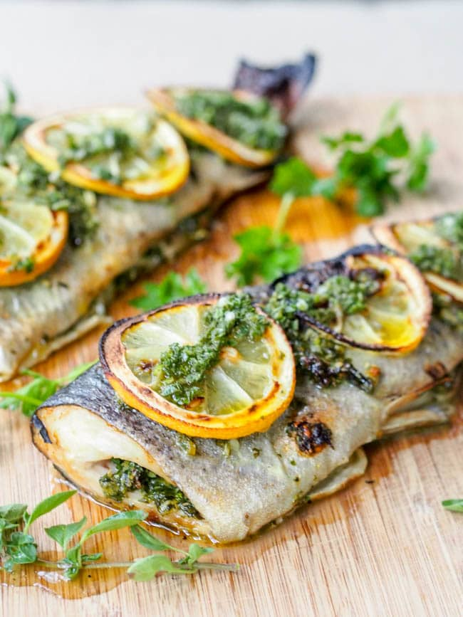 Broiled Trout with Parsley and Oregano topped with lemon slices