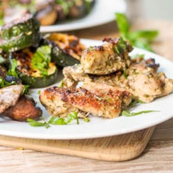 Broiled Pesto Chicken Thighs with Mushrooms and Zucchini Recipe