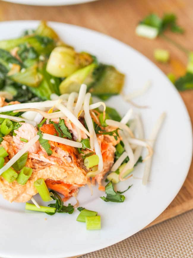 Broiled Red Curry Salmon with Bean Sprouts served with a side of bok choy