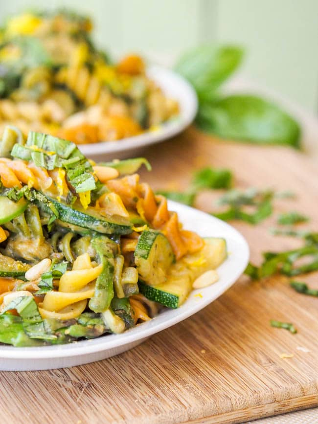 Vegan Summer Pesto Zucchini and Asparagus Pasta ready to eat