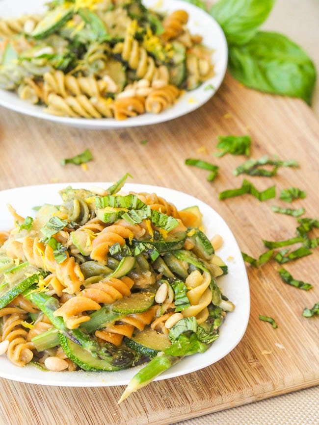 Vegan Summer Zucchini and Asparagus Pesto Pasta