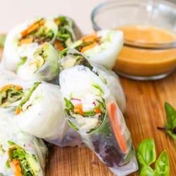 Vegetarian Summer Rolls with Peanut Sauce {Gluten-Free}