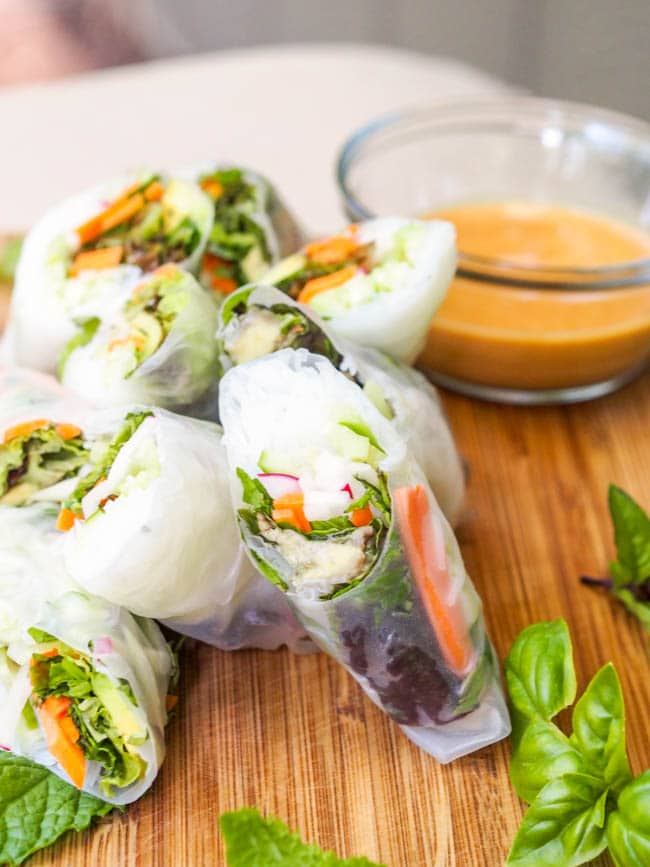 Vegan Spring Rolls cut in half