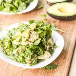 Artichoke, avocado and alfalfa salad