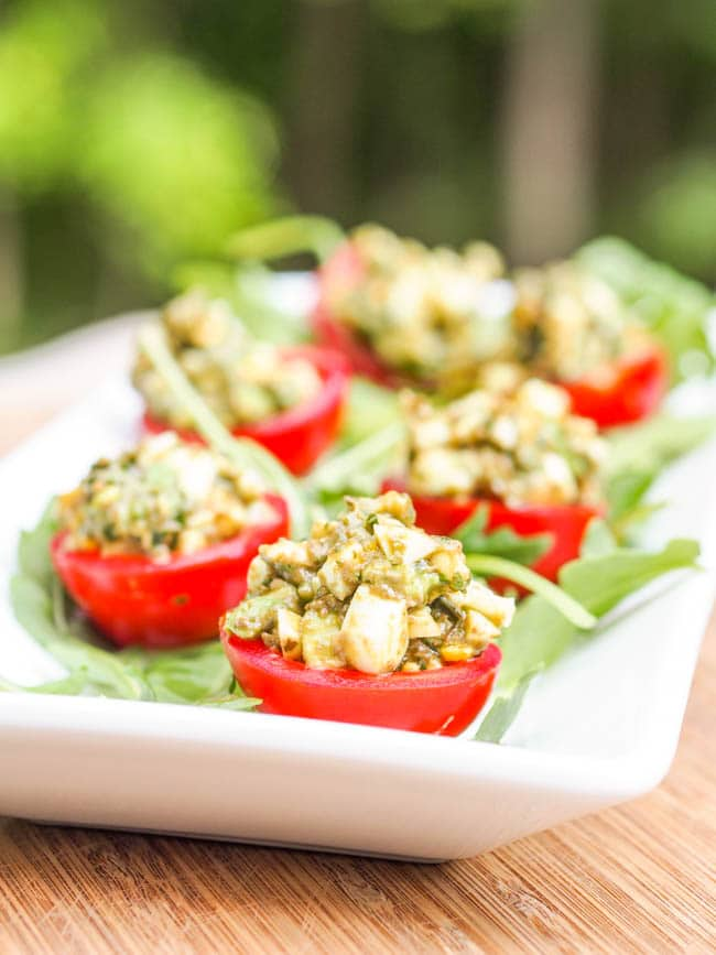 Avocado Pesto Stuffed Cherry Tomatoes