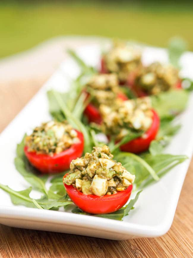 Avocado Pesto and egg stuffed cherry tomatoes