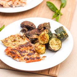 Pesto Salmon {GF, DF} with Pesto Broiled Veggies {Vegan} – Broiled