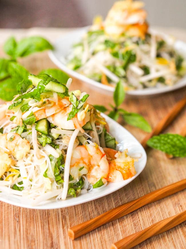 Spring roll salad with shrimp and fresh herbs