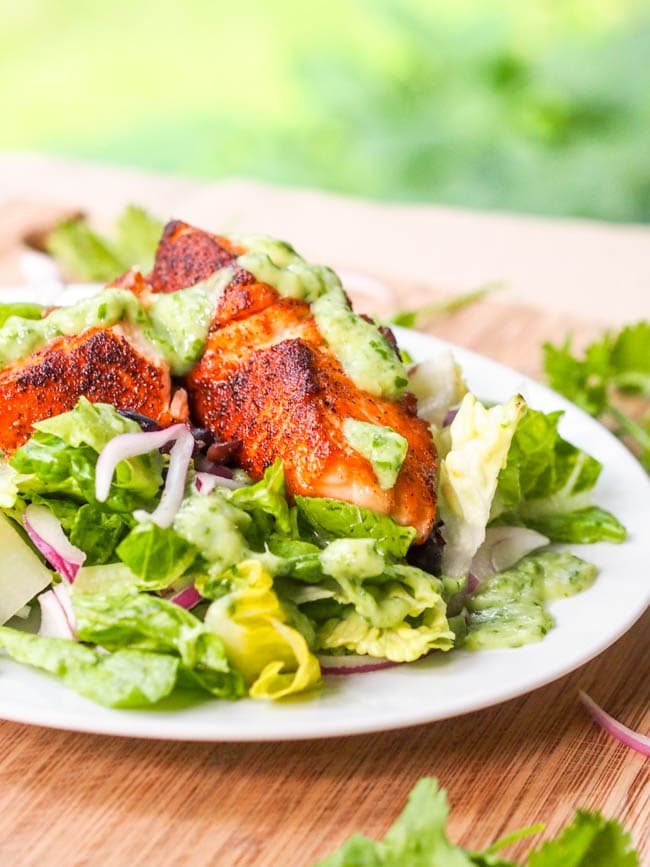 Seared Salmon Salad with Avocado Cilantro Dressing
