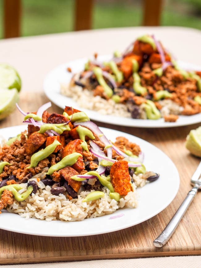 Turkey Taco rice Bowl with Avocado Crema