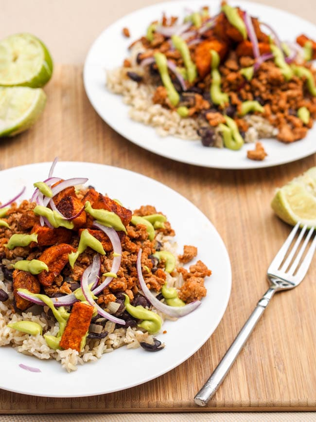 Turkey Taco Rice Bowl with Avocado Crema, sweet potatoes and red onions