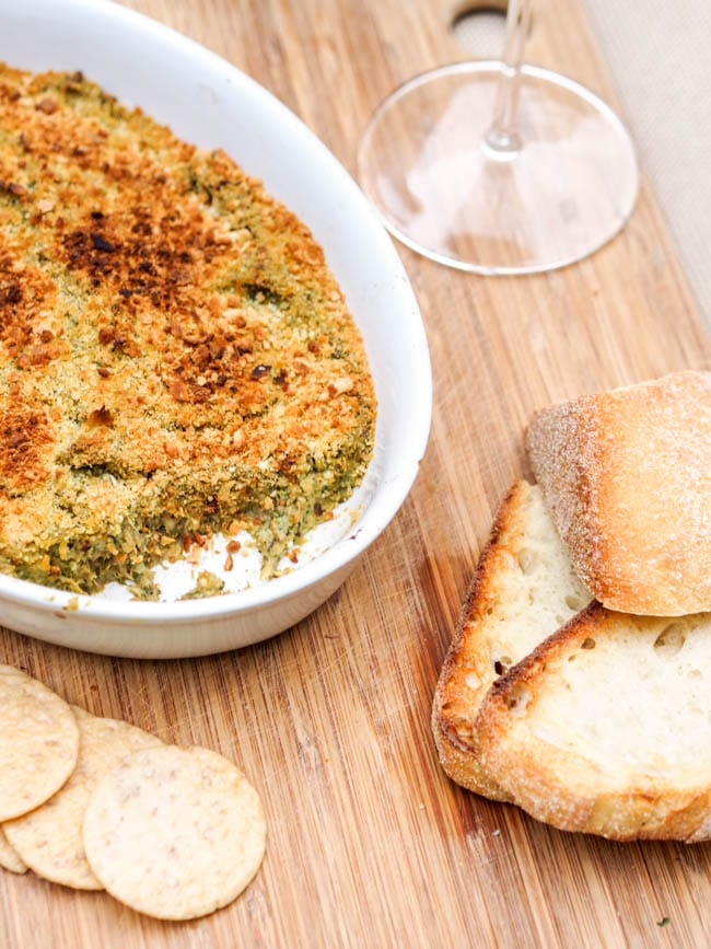 Hearts of Palm Dip Recipe served with crackers and bread