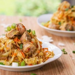 Chicken Sausage and Cabbage Skillet {Gluten-Free, Dairy-Free}